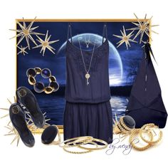 navy jump suit, Tory Burch flats and an amazing Origamy (yes, origamy not origami) bag, created by wendyfer on Polyvore