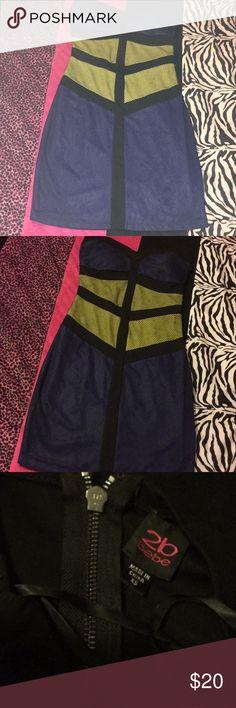 Bebe 2B Dress Bebe 2B Black blue and yellow sweetheart mesh dress with back zipper 2B Bebe Dresses Midi