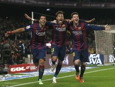 Barcelona's front line of Luis Suárez, Neymar and Lionel Messi celebrate a goal against Atlético Madrid during their La Liga win at Camp Nou Barcelona Team, Lionel Messi Barcelona, Psg, Equipe Do Barcelona, Messi And Neymar, Football Ticket, European Football, Sports Pictures