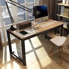 Ebern Designs Capson Writing Desk to 55 Large Computer Desk for Home Office Home Office Table, Home Desk, Home Office Desks, Home Office Furniture, Diy Furniture, Bedroom Office, Tiny Home Office, Large Computer Desk, Computer Desks For Home
