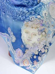 Batik shawl lady Winter handpainted on silk by lavanita on Etsy, $229.00: