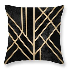 Art Deco Black Throw Pillow for Sale by Elisabeth Fredriksson