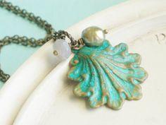 Patina Jewelry  Seashell Necklace by linkeldesigns on Etsy, $29.00