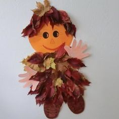 * Blader mannetje! Craft Projects For Kids, Activities For Kids, Art Projects, Crafts For Kids, Arts And Crafts, Autumn Crafts, Nature Crafts, Leaf Crafts, Puffy Paint