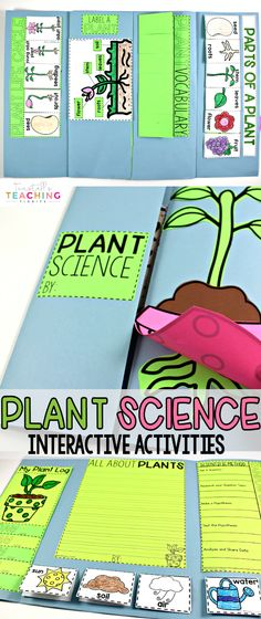 "This unit provides interactive science activities to teach all about plants! Tie in a fascinating subject like plants to your science standards with this Plant Science Unit. Fill your own science notebook or create a 3-dimensional plant science book full of interactive hands on science lessons on parts of a plant, plant life cycle, plant needs, and more! These lap book foldables make for great STEM resources for kindergarten, first, and second grade. To learn more about ""Interactive Plant…"