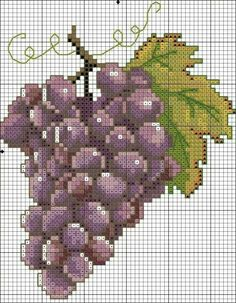 Vindruer Cross Stitch Fruit, Xmas Cross Stitch, Cross Stitch Kitchen, Cross Stitch Love, Cross Stitch Borders, Cross Stitch Designs, Cross Stitching, Cross Stitch Embroidery, Crochet Cross
