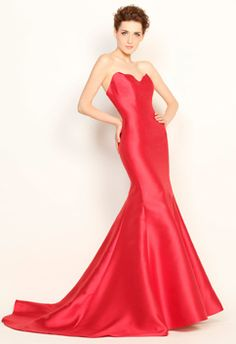 Simple Heart Shape Necklin Mermaid with Chapel Train Finished, Boned Lining, Backless, Perdue Zipper Back, Strapless Red Twill Satin Evening Dress, a Must-Have for Red Carpet or Ball Party.    Product Code: 11P006