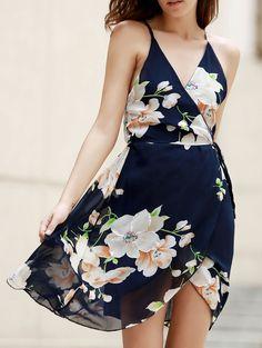 Flower Print Plunging Neck Crossed Dres PURPLISH BLUE: Dresses 2016   ZAFUL