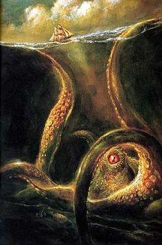 Kraken: Mythical Realm, Kraken Greek Mythilogical Creatures of Legend and Folklore, Myth Beast Krakens Legends