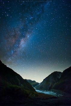 Fox Glacier, Westland Tai Poutini National Park on the West Coast of New Zealand's South Island #travel #nightsky #newzealand
