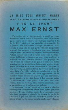 Text by André Breton. Exposition Dada Max Ernst, page Max Ernst, Vive Le Sport, Constructivism, Expressions, Surreal Art, Surrealism, Texts, Bauhaus, Youth