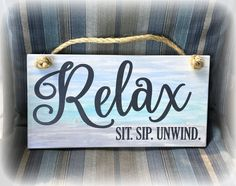 Excited to share the latest addition to my shop: Relax Sit. / Beach Life Wood Sign / Lake Life Sign / Deck or Patio Sign / Porch Decorations / Porch Décor / Ombre Painted Sign Backyard Signs, Patio Signs, Pool Signs, Outdoor Signs, Outdoor Decor, Lake Signs, Beach Signs, Rustic Signs, Wooden Signs