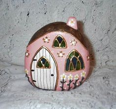 All sizes | River Rock Fairy Houses (Front, Pink #6) | Flickr - Photo Sharing!