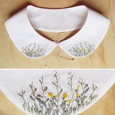 «New collar with field flowers and plants, cotton, for sale Новый воротничок с… Shirt Embroidery, Hand Embroidery Stitches, Embroidery Letters, Embroidery Designs, Broderie Simple, Sewing Collars, Bordados E Cia, Embroidered Clothes, Satin Stitch