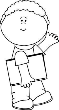 clip art black and white | Black and White Black and White Boy Carrying Book and Waving
