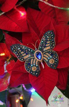 """Купить Брошь """"Бабочка"""" - брошь бабочка, брошь бабочка из бисера, брошь бабочка вышивка"""