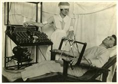 This is one of the ways electric shock therapy was administered around the time of World War 1. Photo credit