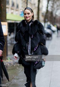 Fotografia de notícias : Olivia Palermo wearing a black fur coat outside...
