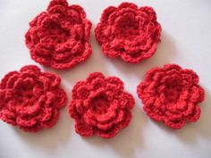 5 pack Cotton Crochet Flowers - Red