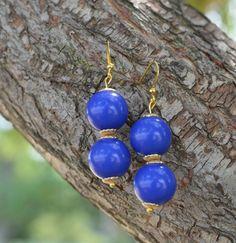 Double Bubble Drop Earrings  Royal Blue by ShopBlueBirdBride, $15.00