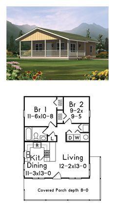 Zeitgenössisches Haus Plan 95985 mit 2 Bett, 1 Bad - Home design ideas Little House Plans, Small House Floor Plans, Small Tiny House, Cabin House Plans, Cabin Floor Plans, Tiny House Cabin, Tiny House Living, Tiny House Design, Cabin Homes