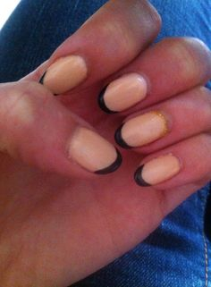 oval nails, nude black, french oval manicure