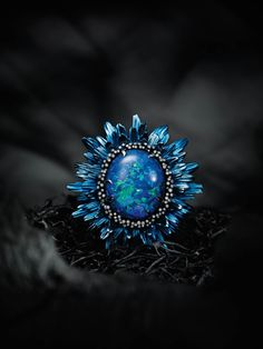 Fleurs-dOpales-3  a 20ct opal w/ diamonds, blue titanium petals, & band set w/ tsavorite, lazulite, & brown diamonds