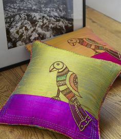 Silk Parrot Madhubani Pillows by Purvaai - for the living room Cushion Cover Designs, Cushion Covers, Pillow Covers, Diy Pillows, Decorative Pillows, Throw Pillows, Designer Pillow, Pillow Design, Fabric Painting