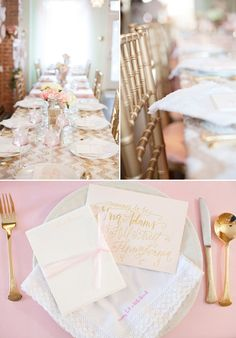 blush and champagne table set decorations for french inspired baby shower ideas