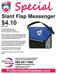 Make carrying your daily necessities a breeze with this slant flap messenger. Equipped with a boarded bottom, business card pocket, and mesh water bottle and pen pockets. #GEARUP http://proformagearupideas.com
