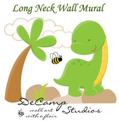 Dinosaur Long Neck Wall Art Mural Decal for baby girl boy nursery or kids room decor. This baby long neck sees a bee for the first time. This unique, one of a kind wall mural is high quality with bright vivid colors. Easy to install. #decampstudios