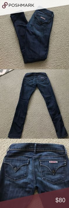 Dark wash button pocket Hudson skinny jeans Great and very flattering pair of jeans! Very well taken care of, washed minimally and never ever dried in a dryer. Only reason for selling is they don't fit anymore. Lots and lots of life left in them! Hudson Jeans Jeans Skinny