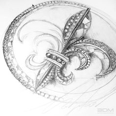 Fleur de lis diamond brooch design sketch process for gothic jewelry collection.  Call now for a 30 min FREE consultation - 212.575.2099 or visit us at www.3dmjewelrydesign.com