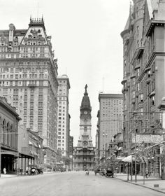 Philly ~ A 1909 photo of Philadelphia City Hall (with statue of William Penn on top) Philadelphia, PA