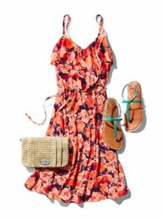 Floral Ruffle Dress and Straw Clutch