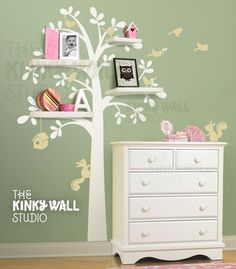 Tree wall decal - white on colored wall with shelves. Addy's room needs shelves