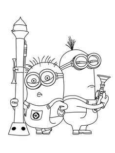 Minions Posing with Heavy Gun in Despicable Me Coloring Page - NetArt