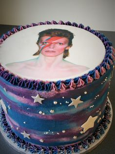 David Bowie purple and blue Galaxy birthday cake Birthday Cake For Him, Birthday Lunch, Birthday Cakes For Women, 30th Birthday Parties, Cakes For Men, Birthday Woman, Birthday Ideas, Office Birthday, Birthday Quotes