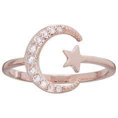LC Lauren Conrad Runway Collection Cubic Zirconia Star & Crescent Moon... (23 CAD) ❤ liked on Polyvore featuring jewelry, rings, light pink, nickel free jewelry, cubic zirconia jewelry, cubic zirconia rings, star jewelry and nickel free rings