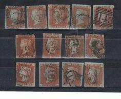 GB 1841 Victorian 1d Red-Brown Blued Paper Collection (SG8a) 13v Cat Val £390+ cost £7.72 +£2,25 postage