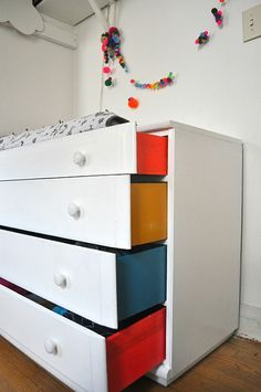 fun painted drawers. Would be cute with my all white vanity.