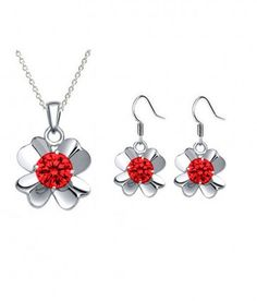 Rhodium Plated Ruby Color Pendant & Earrings Fashion Jewellery Set for Women made with Swarovski Crystals. #Glimmering #RhodiumPlatedPendant #RhodiumPlatedNecklaces #SwarovskiPendant #SwarovskiNecklaces #FashionNecklaces #FreeShipping #CheapFashionNecklaces #FashionPendant #NecklacesforWomen