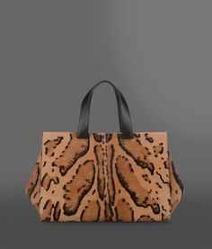 Giorgio Armani Top Handle in Brown (Light brown) _ Animal pattern, magnetic closure, lined interior | Lyst - Source: http://www.lyst.com/bags/giorgio-armani-top-handle-light-brown/
