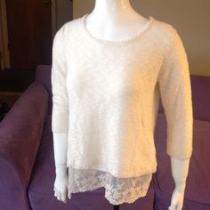 Pretty Sweater  Pretty cream colored sweater with lace trim on bottom. Dress Barn Sweaters Crew & Scoop Necks