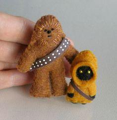 RESERVED FOR ALICIA - Ewok Chewbacca Jawa Yoda felt plush Star Wars dolls. $72.00, via Etsy.