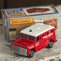 A Matchbox Superfast  Armored security truck no:69. Comes with original box a great example from the 80's in mint condition just very slight signs of wear to the box. A great collectors piece.