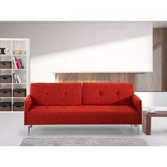 2 Seaters Sofa Bed Clic Clac Orange Polyester Upholstery Living Room Furniture