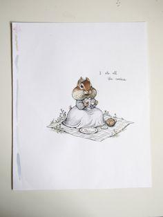 Original Ink and Watercolor Illustration Chipmunk Picnic
