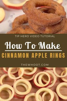 apple recipes Learn how to make Cinnamon Apple Rings Recipe from a few simple ingredients. They are easy and delicious and we have a quick video to show you how. Apple Dessert Recipes, Köstliche Desserts, Fruit Recipes, Gourmet Recipes, Delicious Desserts, Cooking Recipes, Yummy Food, Apple Recipes To Freeze, Recipes For Apples