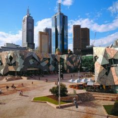 Federation Square in the city of Melbourne Australia, in the state of Victoria; has been voted a number of times as the most livable city. Melbourne Cbd, Melbourne Victoria, Victoria Australia, Melbourne Australia, Brisbane, Great Places, Places To Visit, Australia Tourism, Australian Continent